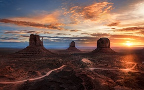 Picture road, the sun, light, rocks, desert, USA, Monument Valley