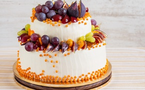 Picture grapes, cake, decoration, cream, dessert, sea buckthorn, figs