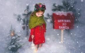 Picture winter, snow, Christmas, girl, lantern, herringbone, Inbox