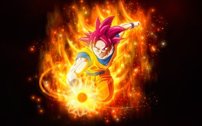 Wallpaper Dragon Ball, anger, guy, fire, flame