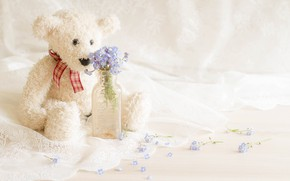 Picture flowers, bear, fabric