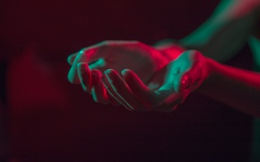 Picture light, dark, hands, palm, glow, outstretched arms, a handful