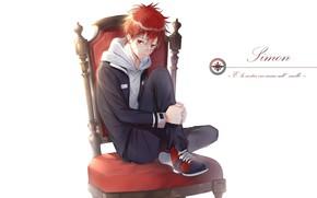 Picture chair, anime, art, guy, Katekyo Hitman Reborn!, enma kozato, Teacher-mafia reborn
