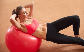 Wallpaper fitness, ball, female