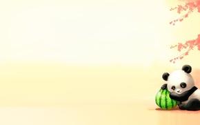Wallpaper melon, autumn, Panda, leaves, acrt, mood, children's