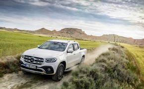 Picture road, white, the sky, grass, clouds, mountains, vegetation, Mercedes-Benz, dust, pickup, primer, 2017, X-Class