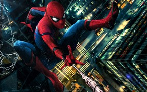 Picture car, rain, art, new york city, spider man, peter parker, spider man: homecoming