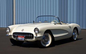 Picture Corvette, Chevrolet, white, convertible, 1957, retro car