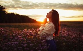 Picture girl, sunset, nature, pose, mood, meadow, Egor Konobevtsev