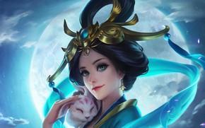 Picture girl, smile, mood, fantasy, art, hairstyle, geisha, animal, kimono