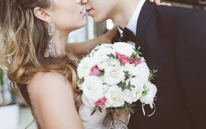 Wallpaper hugs, kiss, the groom, love, bouquet, earrings, kiss, hair, embrace, love, bride, wedding, bouquet, wedding, ...