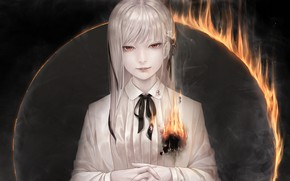Picture girl, fire, tape, bow, red eyes, bouno satoshi