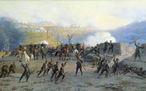 Picture smoke, oil, gun, Canvas, Alexey KIVSHENKO, The battle at the SHIPKA pass