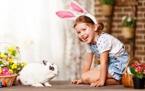 Picture flowers, eggs, rabbit, girl, Bunny