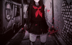 Picture night, street, blood, katana, spot, schoolgirl, art, brick wall, torn clothes, Caidychen