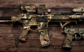 Picture design, gun, flashlight, camouflage, coloring, carabiner, assault rifle