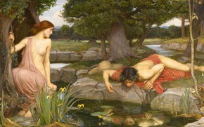 Picture forest, art, John William Waterhouse, Echo and Narcissus
