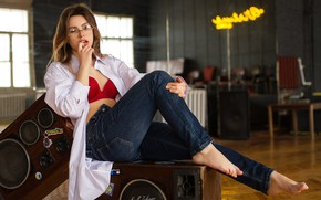 Picture pose, jeans, glasses, Angelina, Cyril Zakirov