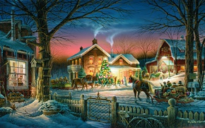 Wallpaper horse, the sky, tree, the fence, smoke, Terry Redlin, trees, home, winter, snow, holiday, sleigh