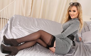 Picture girl, smile, stockings, dress, glasses, Yasmin Grace