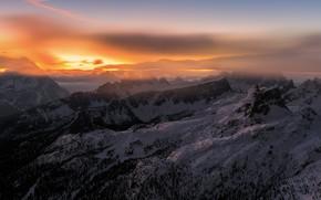 Wallpaper nature, mountains, sunset, fog