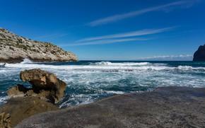 Picture sea, wave, the sky, rocks, shore
