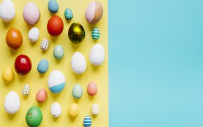 Picture eggs, yellow background, spring, Easter