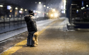 Wallpaper snow, toy, boy, the platform, waiting