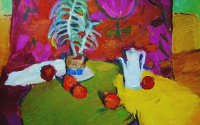 Picture Tulip, 2006, kettle, still life, Peter Petyaev, Apples and colored drapery
