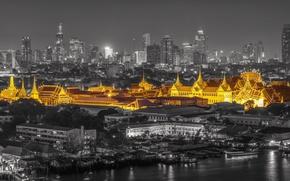 Picture night, lights, castle, panorama, Thailand, Bangkok, Palace