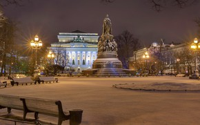 Wallpaper monument, lights, Palace, night, lights, benches, Russia, area, trees, home, square Ostrovskogo, winter, Saint Petersburg, ...