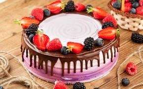 Picture raspberry, chocolate, strawberry, cake, cream, BlackBerry, blueberries