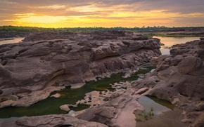 Picture sunset, river, stones, rocks, Thailand, river, nature, stone, sunset, park, beautiful, grand canyon, Sampanbok