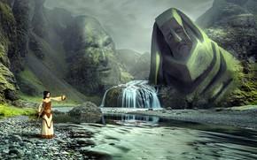Wallpaper landscape, face, fantasy, magic, woman, waterfall, sleep, mystic, figure, statue, shaman, divine, spiritual