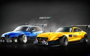 Picture Mercedes-Benz, Auto, Yellow, Blue, BMW, Machine, Machine, Two, Mercedes, Art, AMG, Cars, Rendering, GT S, …
