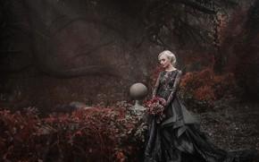 Picture girl, flowers, Park, mood, bouquet, dress, Damien Prokhorov