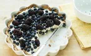 Picture cheesecake, blueberries, food, pie, BlackBerry