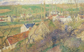 Wallpaper Camille Pissarro, trees, home, They are near PONTOISE, landscape, picture