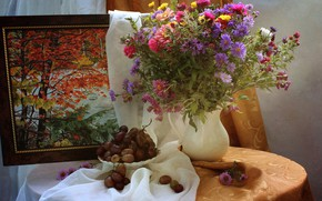 Picture flowers, table, picture, plate, grapes, vase, still life, blind, chrysanthemum, curtain, asters