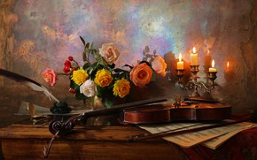Picture flowers, notes, pen, violin, roses, candles, vase, table, still life, ink, Andrey Morozov, Andrey Morozov