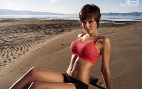 Picture smile, brunette, look, fitness