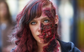Picture girl, face, makeup, zombies