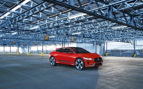 Picture red, Jaguar, garage, Jaguar, Red, Metallic, Concep, I-Pace