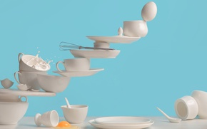 Picture eggs, Cup, shell, saucers, One touch omelette