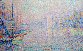 Picture the city, ship, tower, picture, Paul Signac, pointillism, The Port Of Marseille