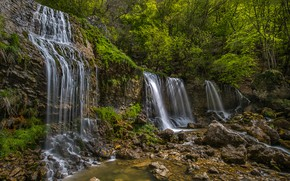 Picture greens, forest, the sun, trees, stones, France, waterfall, Doriaz Waterfall