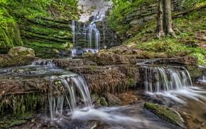 Picture stream, stones, rocks, waterfall, cascade