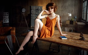 Picture sexy, pose, sofa, model, chairs, portrait, makeup, figure, dress, hairstyle, book, brown hair, legs, beauty, ...