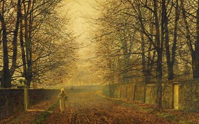 Picture autumn, girl, trees, landscape, street, the fence, picture, John Atkinson Grimshaw, John Atkinson Grimshaw, Gold …