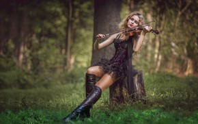 Picture forest, girl, music, mood, violin, stump, boots, dress, Sergey Rehob
